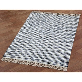 Complex Blue Hand Woven Rug (4'x6') - 4' x 6'