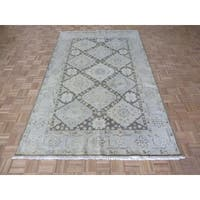 Oriental Brown Wool Oushak Hand-knotted Rug - 6'2 x 9'4