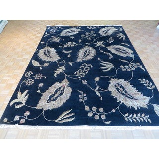Oriental Black Wool and Silk Agra Hand-knotted Rug (9'1 x 12')