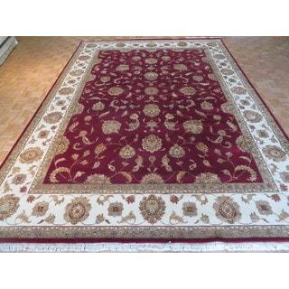 Oriental Black Silk Blend Tabriz Hand-knotted Rug (10'1 x 14'2)