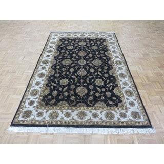 Oriental Black Silk Blend Tabriz Hand-knotted Rug (6' x 9')