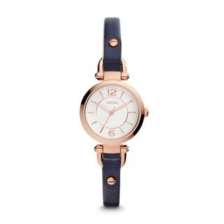Fossil Women's Georgia Mini Analog White Dial Indigo Leather Watch