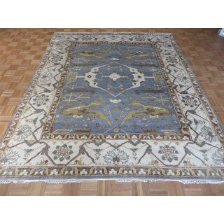 Oriental Blue Wool Oushak Hand-knotted Rug (8'1 x 9'10)