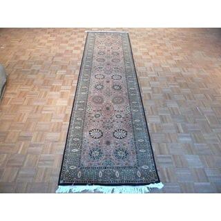 Oriental Bronze Wool Pak Persian Fine Kashan Hand-knotted Rug (3' x 12'4)