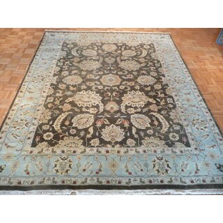 Oriental Brown Wool Peshawar Hand-knotted Rug (8' x 9'9)