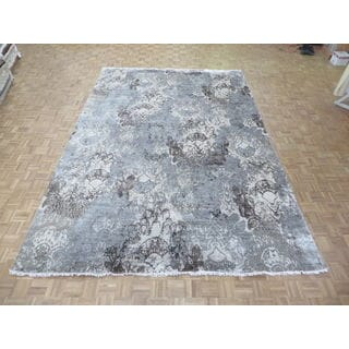 Hand-knotted Oriental Grey Wool/ Silk Area Rug (9'8 x 14)