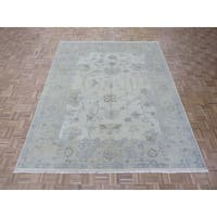 Ivory Hand-knotted Wool Turkish Oushak Oriental Rug - 8' x 10'