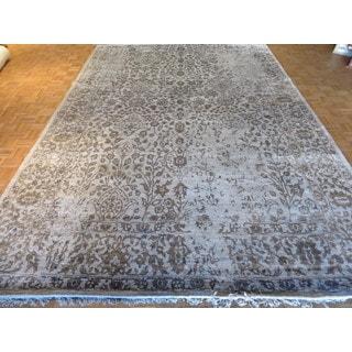 Oriental Grey Silk Blend Tabriz Hand-knotted Rug (9'11 x 14'3)