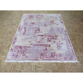 Fine Oriental Ivory/Purple Hand-Knotted Bamboo Silk Rug (7'9 x 9'10)