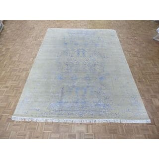 Hand-Knotted Modern Oriental Ivory Wool and Silk Rug (9 x 12'2)