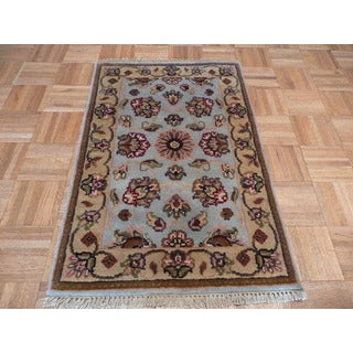 Oriental Light Blue Wool Agra Hand-knotted Rug (2' x 3'1)