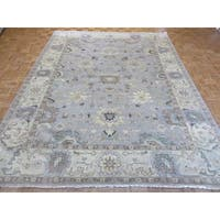 Light Blue Wool Handknotted Oushak Oriental Rug (8'11 x 11'8)