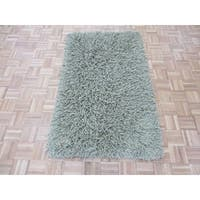 Oriental Light Green Wool Hand-knotted Shag Rug - 3'3 x 5'3