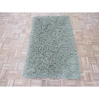 Oriental Light Green Wool Hand-knotted Shag Rug (3'3 x 5'3)