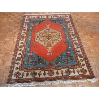 Hand Knotted Orange Heriz with Wool Oriental Rug (7' x 9'6)