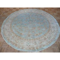 Hand-knotted Sky Blue Peshwar with Wool Oriental Rug - 6'4 x 6'4