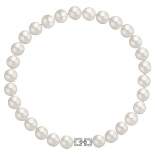 Pearlyta Sterling Silver White Shell Pearl Necklace with Cubic Zirconia Square Clasp (13-14 mm)