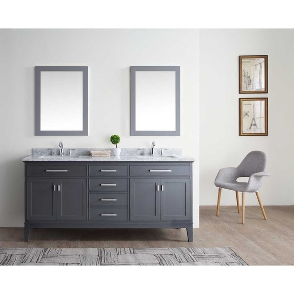 exceptional Double Bath Vanity Part - 19: Ari Kitchen and Bath Danny 72-inch Double Bathroom Vanity Set - Maple Grey