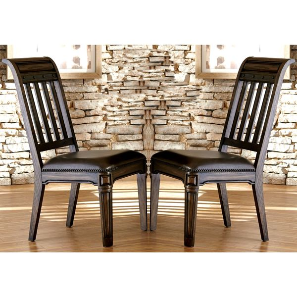 Attirant Empress Grand Rustic Espresso Dining Chairs With Metal Accents And Nailhead  Trim (Set Of 2