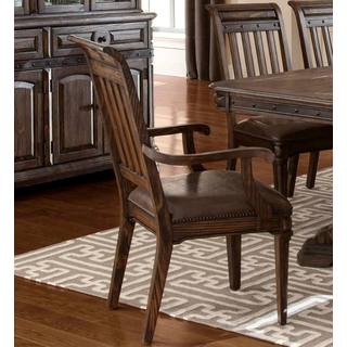 Empress Grand Rustic Espresso Arm Chairs with Metal Accents and Nailhead Trim (Set of 2)