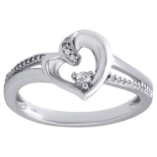 10k White Gold Diamond Accent Heart Ring