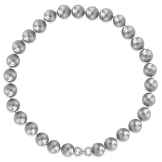 Pearlyta Sterling Silver Grey Shell Pearl with Cubic Zirconia Heart Clasp Necklace (13-14 mm)