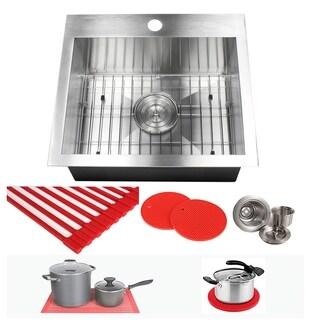 Ariel 19-inch Stainless Steel Single Bowl Topmount Drop-in Zero Radius Kitchen Prep Utility Sink 16 Gauge Combo