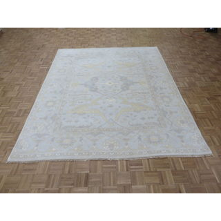 Oriental Beige Wool Oushak Hand-knotted Rug (8' x 9'11)