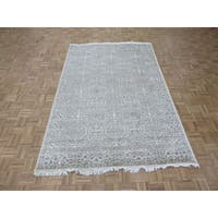 Oriental Beige Wool and Silk Tone on Tone Tabriz Hand-knotted Rug - 6' x 9'2