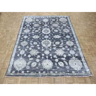 Oriental Black Bamboo Oushak Hand-knotted Rug (7'9 x 9'10)