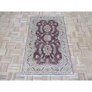 Oriental Brown Wool Peshawar Hand-knotted Rug (3' x 5')