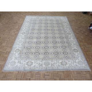 Oriental Grey Wool Khotan Oushak Hand-knotted Rug (10'1 x 13'8)