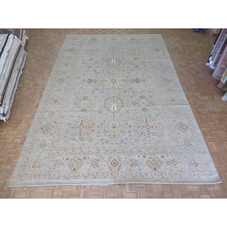 """Hand Knotted Light Blue Peshawar with Wool Oriental Rug (11'11"""" x 18')"""