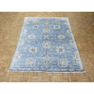 Oriental Sky Blue Bamboo Silk Oushak Hand-knotted Rug (7'11 x 9'8)