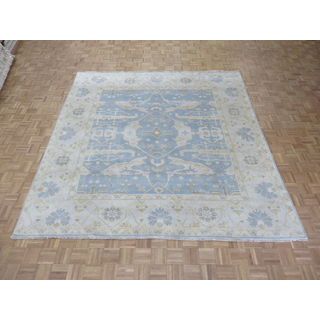 Oriental Oushak Sky Blue Wool Hand-knotted Rug (9'8 x 9'11)
