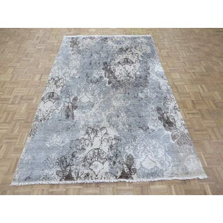 """Hand Knotted Gray Modern with Wool & Silk Oriental Rug (5'10"""" x 9'2"""")"""