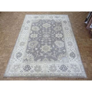 Oriental Grey Wool Oushak Hand-knotted Rug (10'2 x 13'11)
