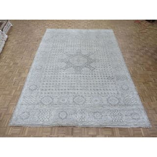 Hand-knotted Gray Oushak with Wool Oriental Rug (9'8 x 13'9)