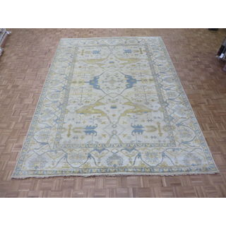 Hand-knotted Ivory Oushak with Wool Oriental Rug (10'1 x 13'10)