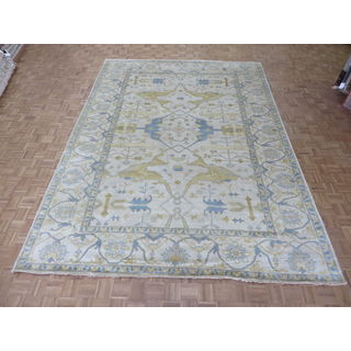 Hand-knotted Ivory Oushak with Wool Oriental Rug (10'1 x 13'11)