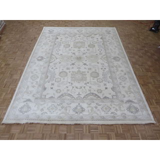 Oushak Ivory Wool Hand-knotted Oriental Rug (10'2 x 13'9)