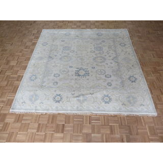 Oriental Ivory Wool Oushak Hand-knotted Rug (8'10 x 9')