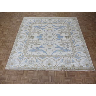 Oriental Ivory Wool Oushak Hand-knotted Rug (8'11 x 9')