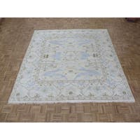 Oriental Oushak Ivory Wool Hand-knotted Rug - 8' 11 x 9'