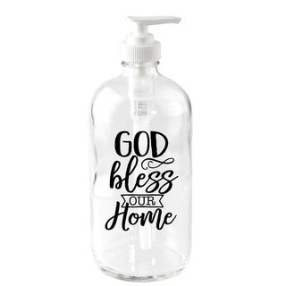 'God Bless Our Home' 16-ounce Glass Soap Dispenser