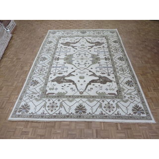Oriental Ivory Wool Oushak Hand-knotted Rug (9'11 x 13'7)