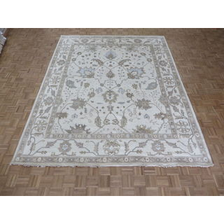 Hand-knotted Ivory Oushak with Wool Oriental Rug (9'4 x 11'10)