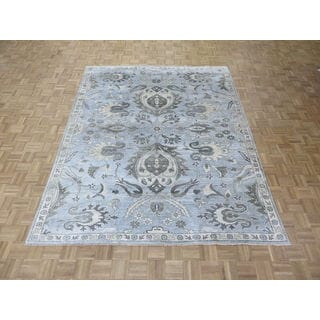 Sky Blue Bamboo Silk Handknotted Oushak Oriental Rug (7'10 x 9'10)