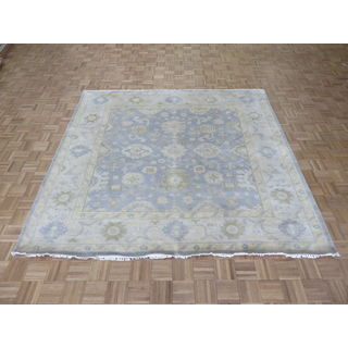 Oushak Sky Blue Wool Hand-knotted Oriental Rug (7'11 x 8'3)