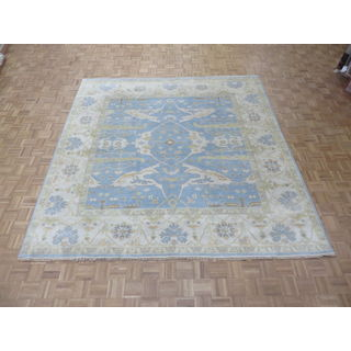 Oriental Sky Blue Wool Oushak Hand-knotted Rug (9'10 x 9'10)